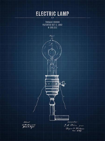 Wall Art - Digital Art - 1882 Thomas Edison Electric Lamp - Dark Blueprint by Aged Pixel