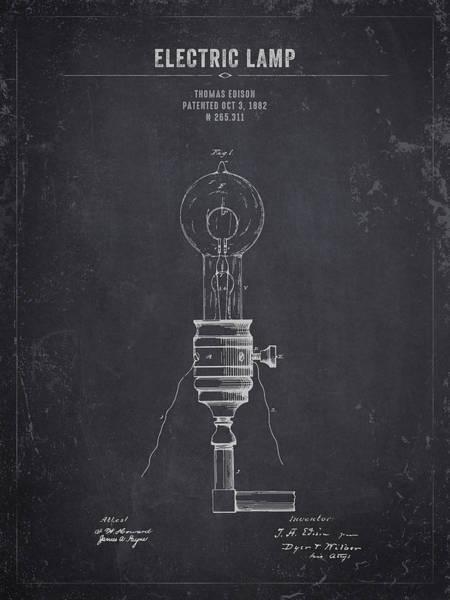 Wall Art - Digital Art - 1882 Thomas Edison Electric Lamp - Dark Charcoal Grunge by Aged Pixel