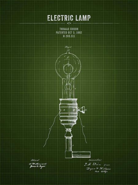 Wall Art - Digital Art - 1882 Thomas Edison Electric Lamp - Dark Green Blueprint by Aged Pixel