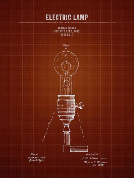 Wall Art - Digital Art - 1882 Thomas Edison Electric Lamp - Dark Red Blueprint by Aged Pixel