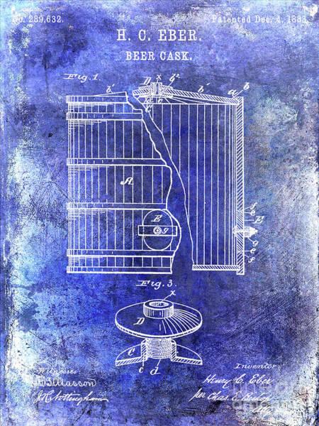 Wall Art - Photograph - 1883 Beer Cask Patent Blue by Jon Neidert