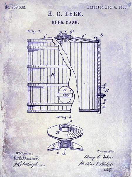 Wall Art - Photograph - 1883 Beer Cask Patent Blueprint by Jon Neidert
