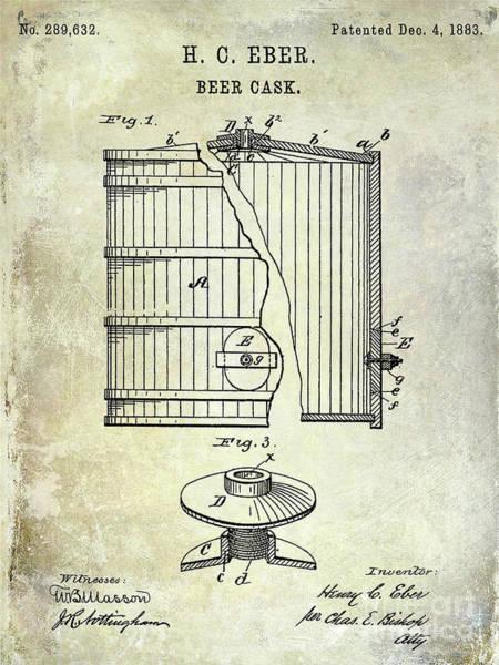 Wall Art - Photograph - 1883 Beer Cask Patent by Jon Neidert