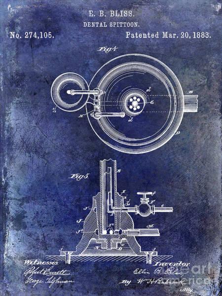 Wall Art - Photograph - 1883 Dental Spittoon Patent Blue by Jon Neidert