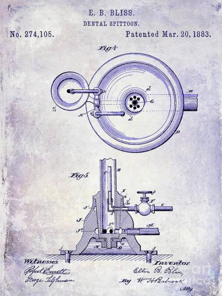Wall Art - Photograph - 1883 Dental Spittoon Patent Blueprint by Jon Neidert