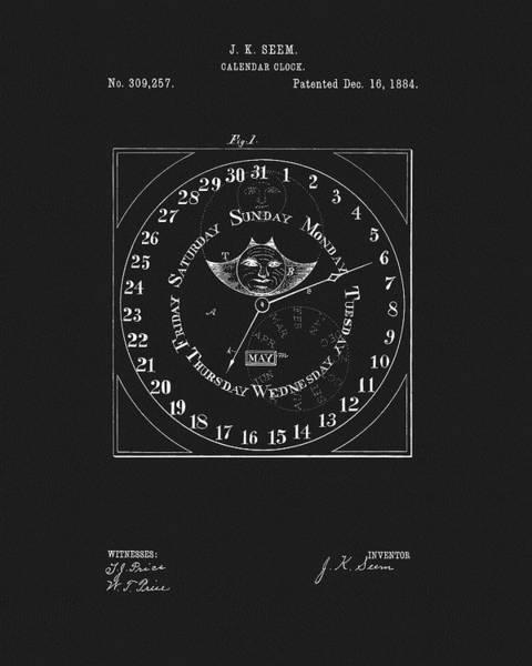 Drawing - 1884 Calendar Clock by Dan Sproul