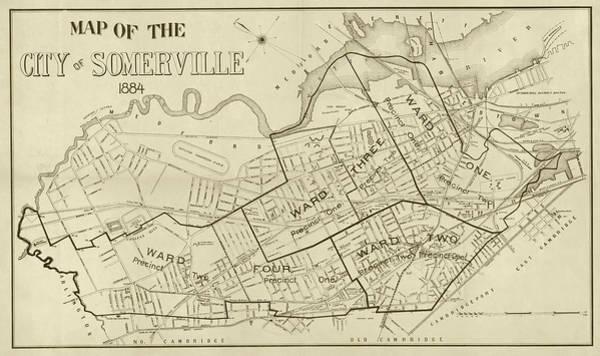Digital Art - 1884 City Of Somerville Ma Ward Map Sepia by Toby McGuire
