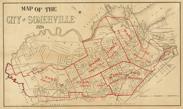 Digital Art - 1884 City Of Somerville Ma Ward Map by Toby McGuire