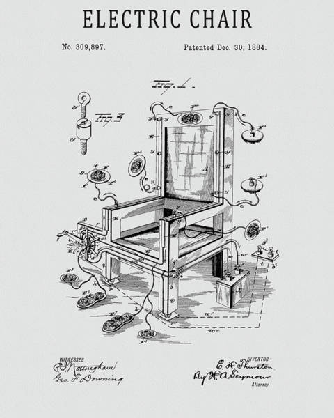 Wall Art - Drawing - 1884 Electric Chair Patent by Dan Sproul