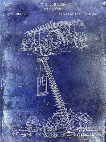 Wall Art - Photograph - 1884 Fire Ladder Truck Patent Blue by Jon Neidert