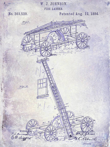 Wall Art - Photograph - 1884 Fire Ladder Truck Patent Blueprint by Jon Neidert
