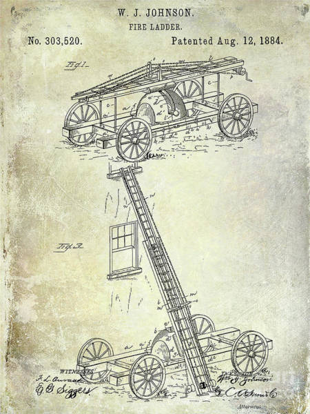 Wall Art - Photograph - 1884 Fire Ladder Truck Patent by Jon Neidert
