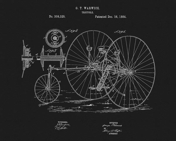 Drawing - 1884 Tricycle Patent by Dan Sproul