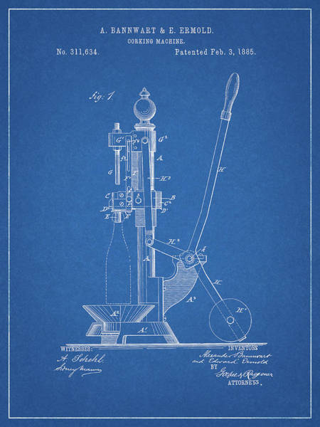 Wall Art - Drawing - 1885 Corking Machine by Dan Sproul