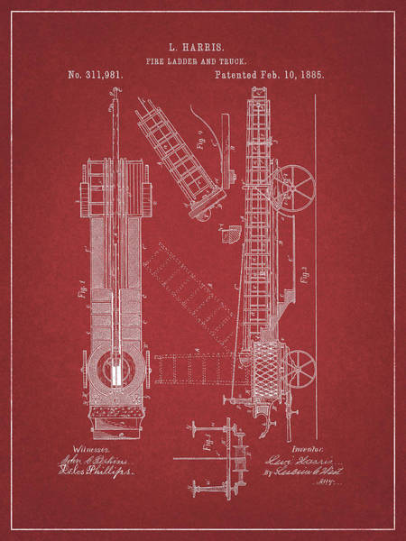 Wall Art - Drawing - 1885 Fire Truck Patent by Dan Sproul