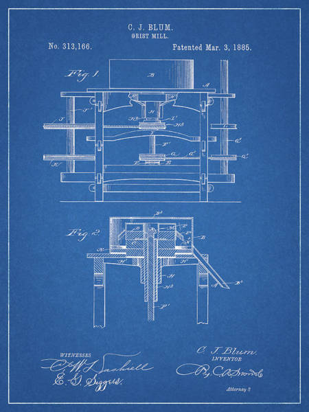 Wall Art - Drawing - 1885 Grist Mill Patent by Dan Sproul