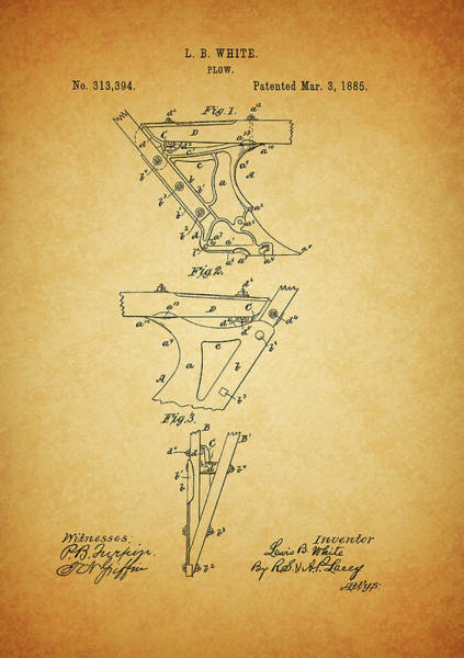 Drawing - 1885 Plow Patent by Dan Sproul
