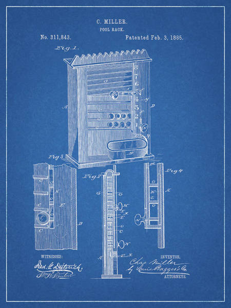 Wall Art - Drawing - 1885 Pool Rack Patent by Dan Sproul