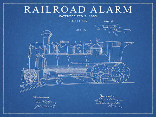 Wall Art - Drawing - 1885 Railroad Alarm Patent by Dan Sproul