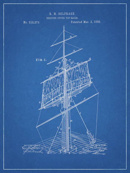 Drawing - 1885 Sails Patent by Dan Sproul