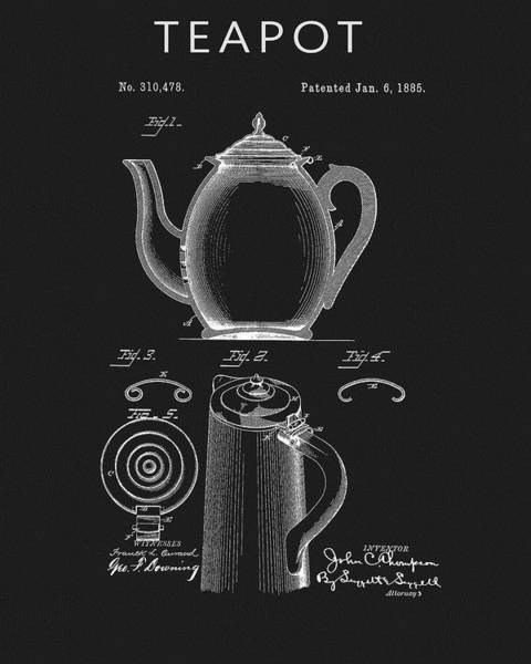 Wall Art - Drawing - 1885 Teapot Patent by Dan Sproul