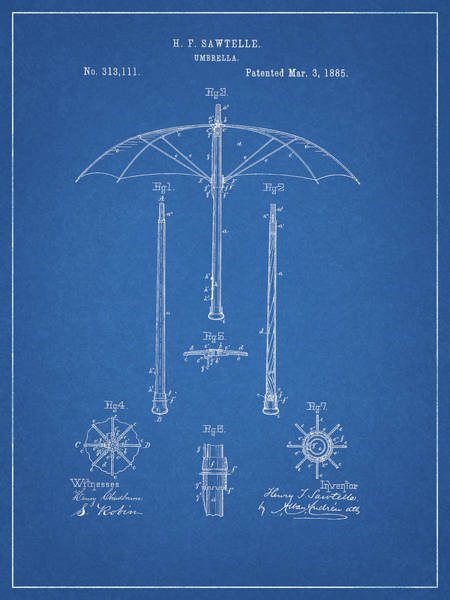 Wet Drawing - 1885 Umbrella Patent by Dan Sproul