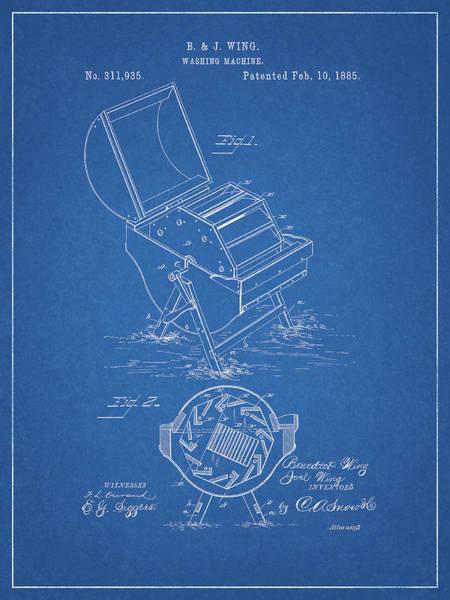Wall Art - Drawing - 1885 Washing Maching Patent by Dan Sproul