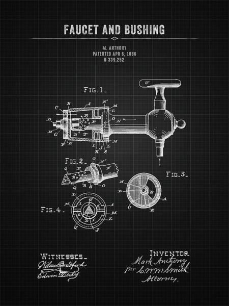 Wall Art - Digital Art - 1886 Faucet And Bushing - Black Blueprint by Aged Pixel