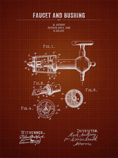 Wall Art - Digital Art - 1886 Faucet And Bushing - Dark Red Blueprint by Aged Pixel
