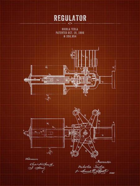 Wall Art - Digital Art - 1886 Nikola Tesla Regulator - Dark Red Blueprint by Aged Pixel