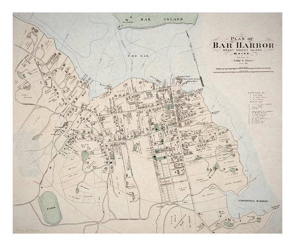 Digital Art - 1887 Map Of Bar Harbour by Pennie McCracken