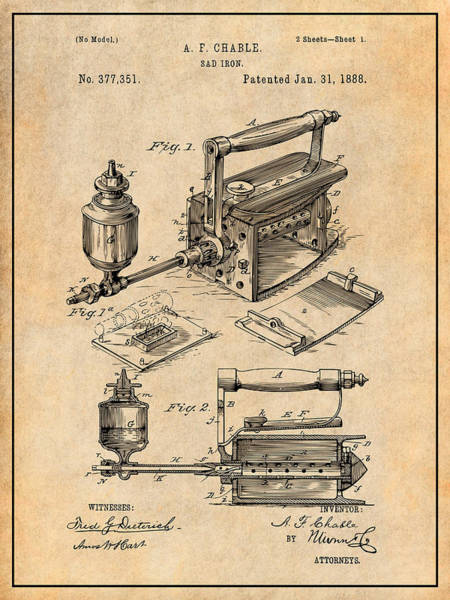 Wall Art - Drawing - 1888 Antique Sad Iron Patent Print Antique Paper by Greg Edwards