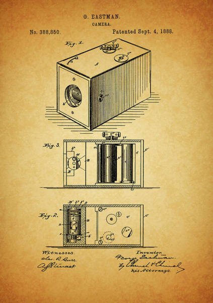 Drawing - 1888 Camera Patent by Dan Sproul