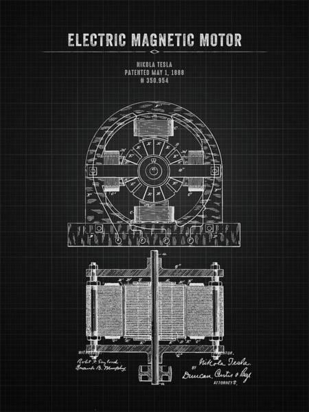 Wall Art - Digital Art - 1888 Nikola Tesla Electric Magentic Motor - Black Blueprint by Aged Pixel