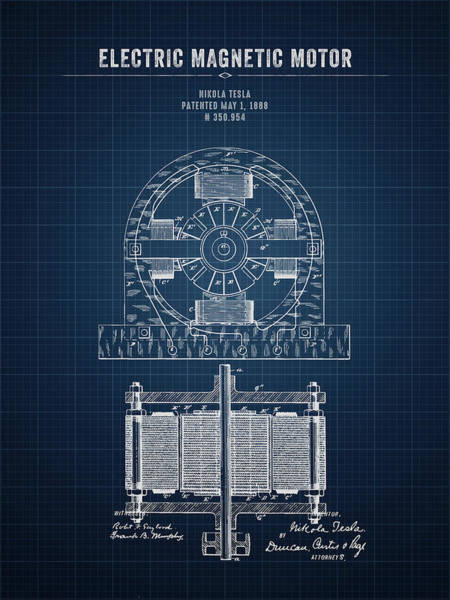 Wall Art - Digital Art - 1888 Nikola Tesla Electric Magentic Motor - Dark Blueprint by Aged Pixel