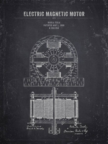 Wall Art - Digital Art - 1888 Nikola Tesla Electric Magentic Motor - Dark Charcoal Grunge by Aged Pixel