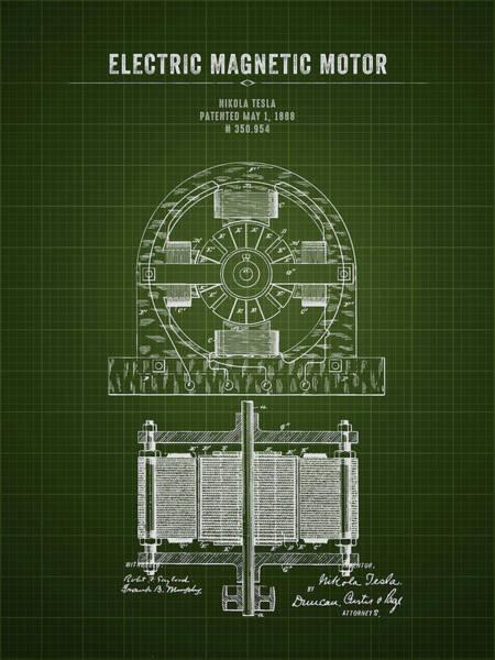 Wall Art - Digital Art - 1888 Nikola Tesla Electric Magentic Motor - Dark Green Blueprint by Aged Pixel