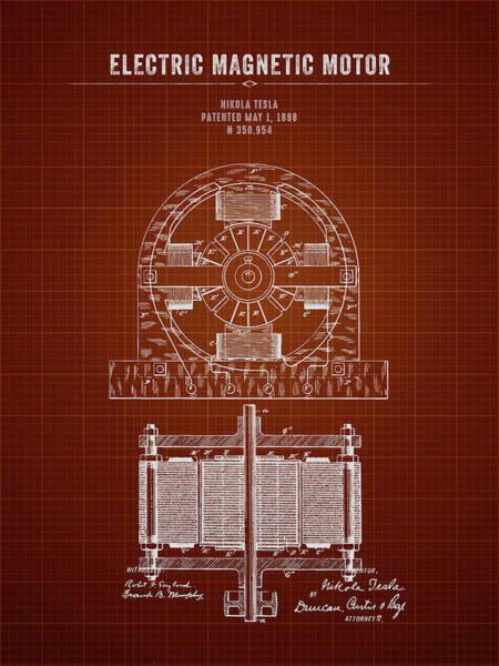 Wall Art - Digital Art - 1888 Nikola Tesla Electric Magentic Motor - Dark Red Blueprint by Aged Pixel