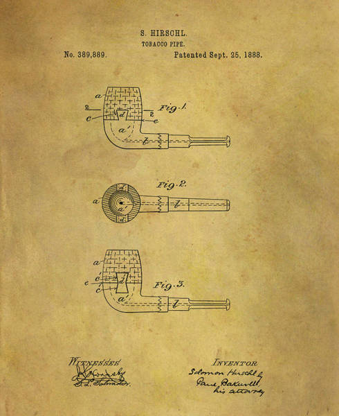 Drawing - 1888 Pipe Patent by Dan Sproul