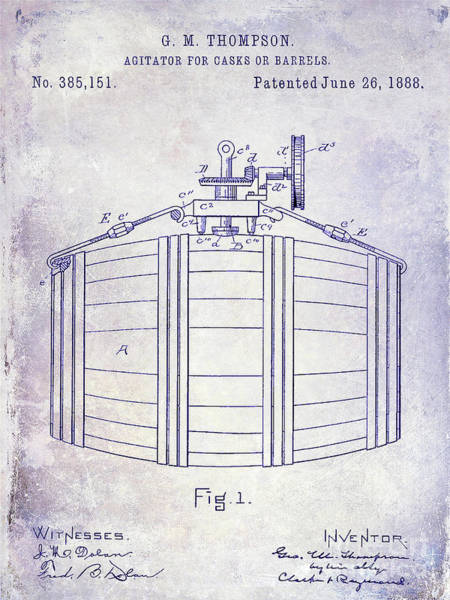 Cocktail Shaker Photograph - 1888 Whiskey Or Beer Barral Patent Blueprint by Jon Neidert