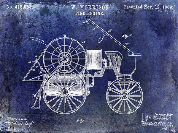 Wall Art - Photograph - 1889 Fire Engine Patent Blue by Jon Neidert