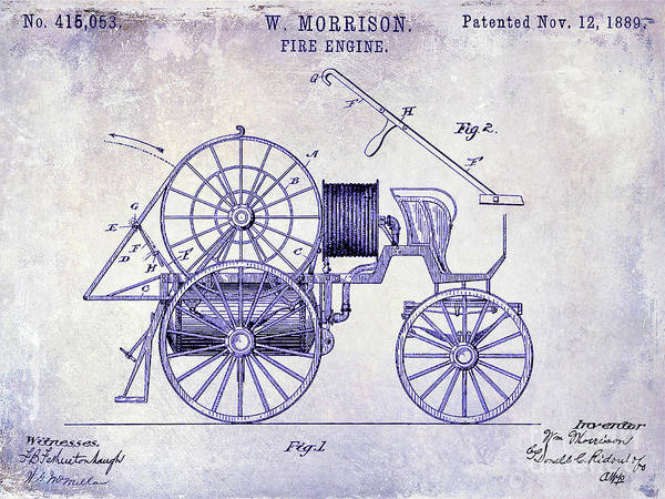 Wall Art - Photograph - 1889 Fire Engine Patent Blueprint by Jon Neidert