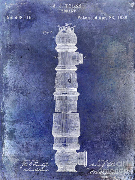 Wall Art - Photograph - 1889 Fire Hydrant Patent Blue by Jon Neidert