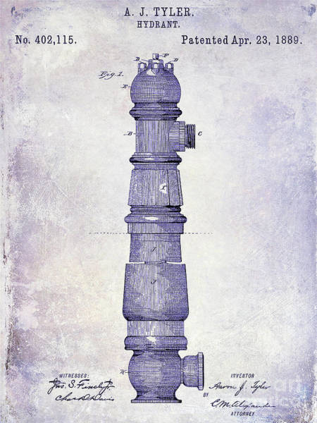 Wall Art - Photograph - 1889 Fire Hydrant Patent Blueprint by Jon Neidert