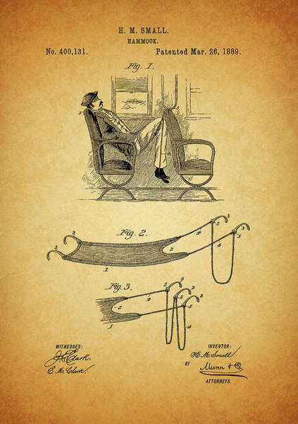 Drawing - 1889 Hammock Patent by Dan Sproul