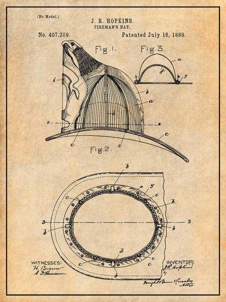 Wall Art - Drawing - 1889 Hopkins Fireman's Hat Antique Paper Patent Print by Greg Edwards