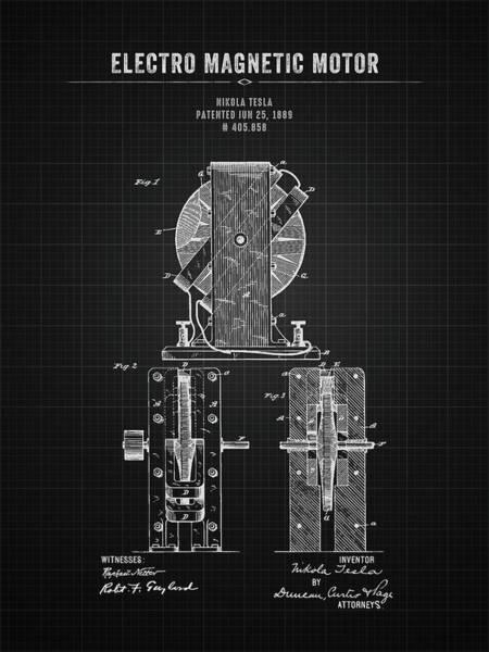Wall Art - Digital Art - 1889 Nikola Tesla Electro Magnetic Motor - Black Blueprint by Aged Pixel