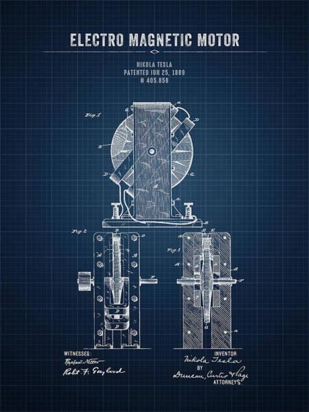Wall Art - Digital Art - 1889 Nikola Tesla Electro Magnetic Motor - Dark Blueprint by Aged Pixel