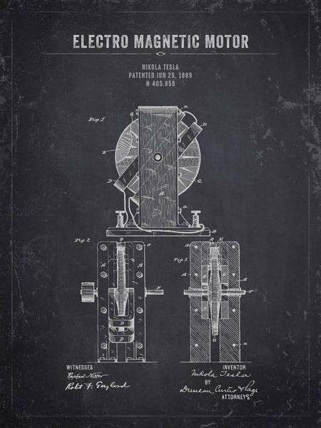 Wall Art - Digital Art - 1889 Nikola Tesla Electro Magnetic Motor - Dark Charcoal Grunge by Aged Pixel