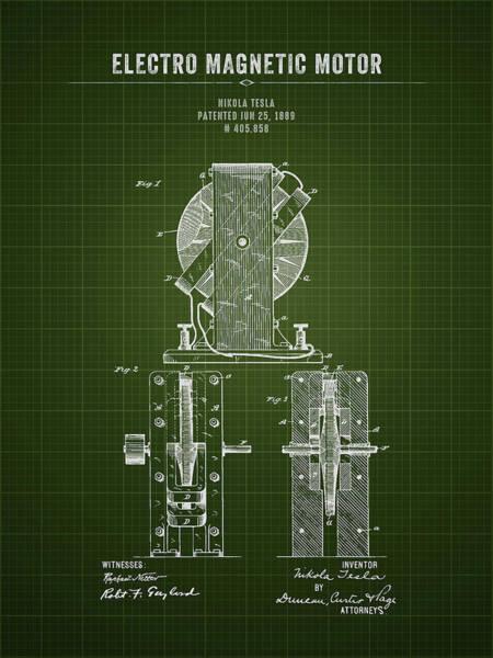 Wall Art - Digital Art - 1889 Nikola Tesla Electro Magnetic Motor - Dark Green Blueprint by Aged Pixel